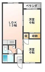Mハイツ寿2[2階]の間取り