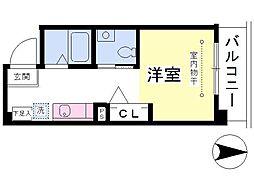 東武野田線 大和田駅 徒歩12分の賃貸マンション 2階ワンルームの間取り
