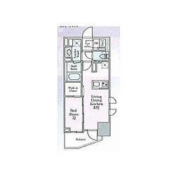 都営大江戸線 大門駅 徒歩3分の賃貸マンション 2階1LDKの間取り