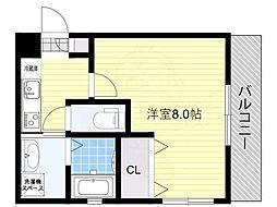 リアコートJR淡路駅前 4階1Kの間取り
