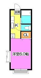 東京都東久留米市下里7丁目の賃貸アパートの間取り