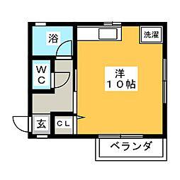 ハイツHIRAIWA 1階ワンルームの間取り
