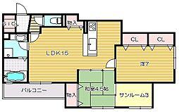 大阪府茨木市橋の内1丁目の賃貸アパートの間取り