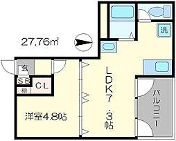 サテンドール千本[2階]の間取り