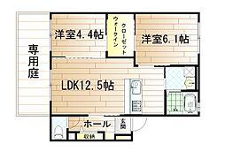 クラヴィエ赤坂[1階]の間取り