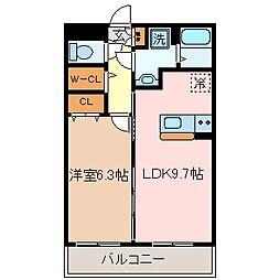 マエストロ斎宮 2階1LDKの間取り