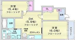 ボヌールメゾン 1階2DKの間取り