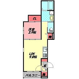 ハーモニーテラス京阪北本通 3階1LDKの間取り