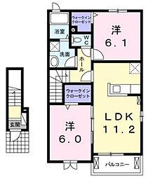 兵庫県川西市新田1丁目の賃貸アパートの間取り