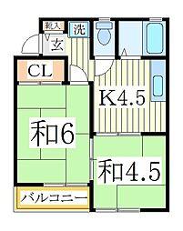 コーポ・シャルム[2階]の間取り