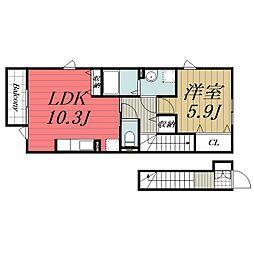 京成本線 京成佐倉駅 徒歩3分の賃貸アパート 2階1LDKの間取り