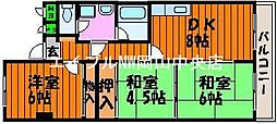 岡山県岡山市中区平井丁目なしの賃貸マンションの間取り
