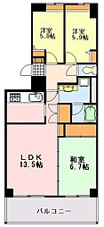 千葉県千葉市中央区宮崎町の賃貸マンションの間取り