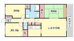 兵庫県神戸市北区鈴蘭台北町6丁目の賃貸マンションの間取り