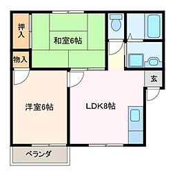 三重県松阪市宝塚町の賃貸アパートの間取り