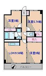神奈川県横浜市港北区高田西3丁目の賃貸マンションの間取り