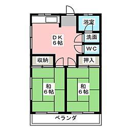 竜南マンション[3階]の間取り