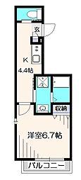 西武国分寺線 恋ヶ窪駅 徒歩5分の賃貸マンション 3階1Kの間取り