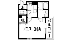 兵庫県伊丹市中野西1丁目の賃貸アパートの間取り
