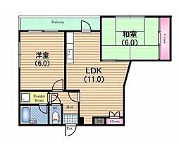 志紀ロイヤルハイツ[6階]の間取り