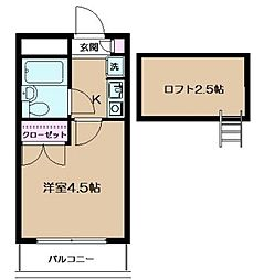 東京都豊島区池袋1の賃貸アパートの間取り