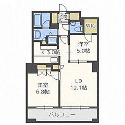 JR函館本線 札幌駅 徒歩10分の賃貸マンション 8階2LDKの間取り