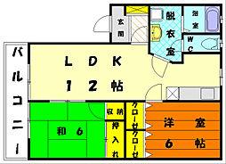エリデス土井[2階]の間取り