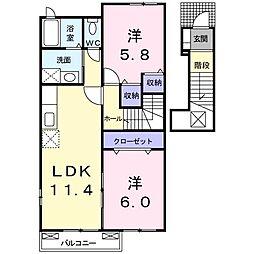 プリート・カーサ B[203号室号室]の間取り