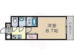 J.T.大阪West 7階1Kの間取り