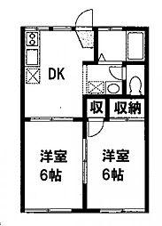 メゾンクレールA[2階]の間取り