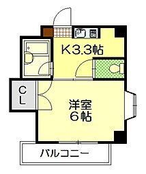 サンライズ鶴江C棟[3階]の間取り