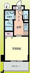 小田急小田原線 鶴川駅 徒歩1分の賃貸マンション 7階1Kの間取り