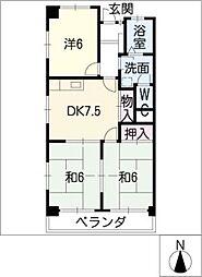 村瀬コーポラス[3階]の間取り