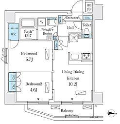 リビオメゾン両国イースト 7階2LDKの間取り
