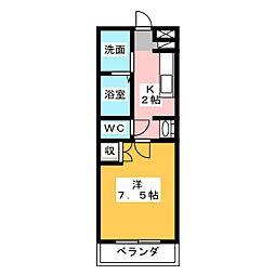 ツチヤマンション別館 1階1Kの間取り