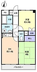 船橋YKマンション[1階]の間取り