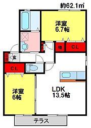 ドエル古賀B棟[1階]の間取り