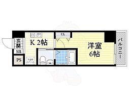 南海高野線 萩ノ茶屋駅 徒歩2分の賃貸マンション 4階1Kの間取り
