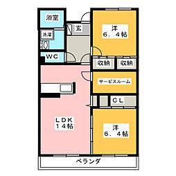 静岡県静岡市駿河区中島の賃貸マンションの間取り