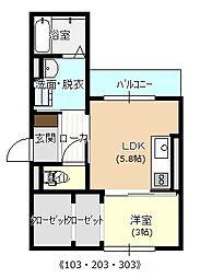 広島県広島市中区舟入川口町の賃貸アパートの間取り