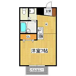 京都府京都市山科区椥辻西浦町の賃貸アパートの間取り