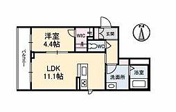伊予鉄道市駅線 勝山町駅 徒歩4分の賃貸マンション 2階1LDKの間取り