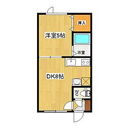 ポラリス 2階1DKの間取り