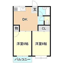 コーポ小島B棟[1階]の間取り