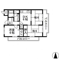 シャンポール東大阪[417号室号室]の間取り