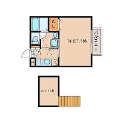 近鉄奈良線 近鉄奈良駅 徒歩10分の賃貸アパート 2階1Kの間取り