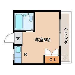 近鉄京都線 高の原駅 徒歩16分の賃貸マンション 1階ワンルームの間取り