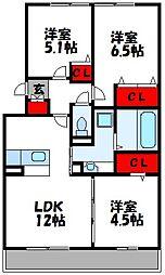 JR鹿児島本線 福工大前駅 徒歩12分の賃貸アパート 1階3LDKの間取り