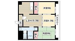 愛知県名古屋市守山区森孝1丁目の賃貸マンションの間取り