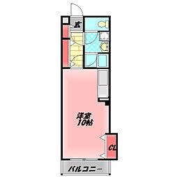守口ガーデンハウス 4階ワンルームの間取り